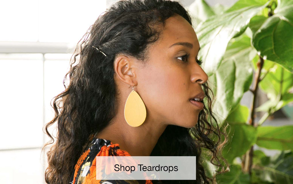 Shop our wide selection of teardrop leather earrings.