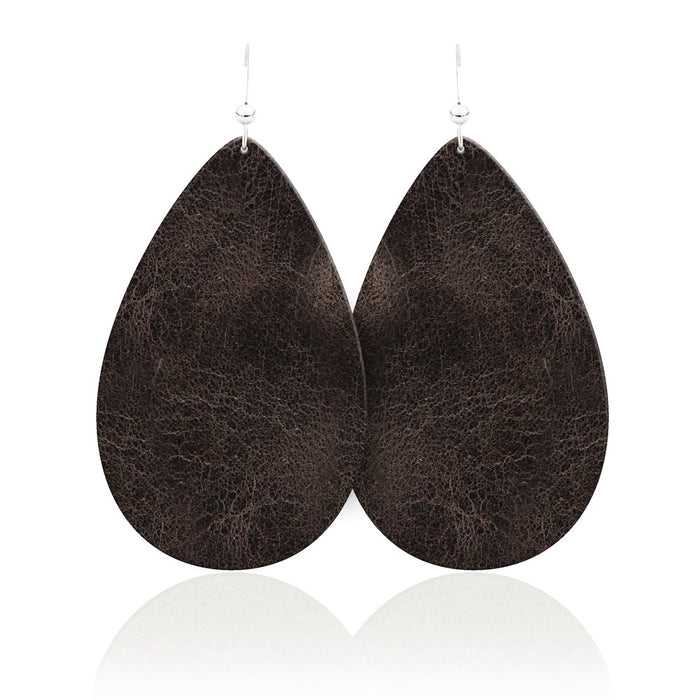 Vintage Teardrop Leather Earrings
