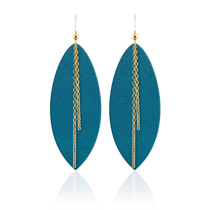 Teal Linked Leather Earrings