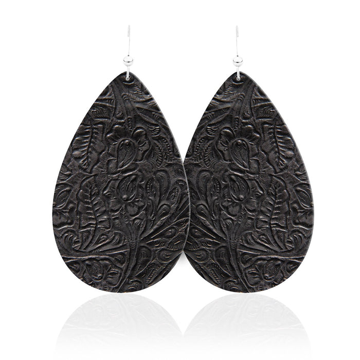 Luna Teardrop Leather Earrings