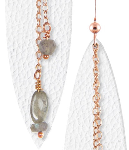White Leather Earrings w/Gemstones