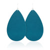 Teal Teardrop Leather Earrings