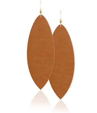 London Tan Leather Earrings