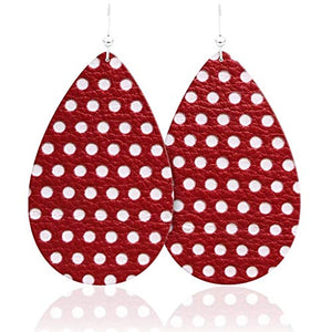 Red and White Polo Dot Earrings