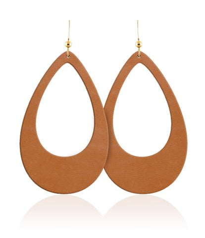 London Tan Teardrop Cutout Leather Earrings