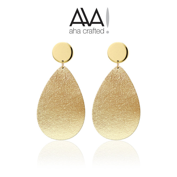 Gold Teardrop Disc Leather Earrings