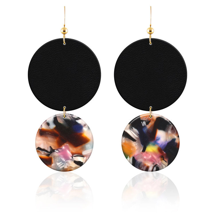 Resin and Leather Earrings