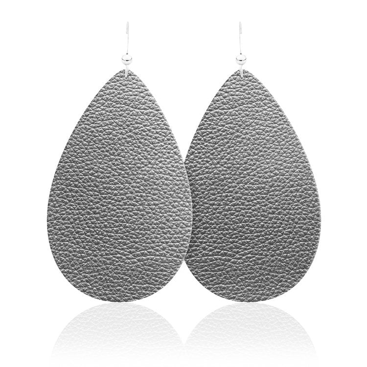 Soft Gunmetal Teardrop Leather Earrings