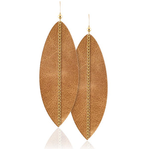 Light Desert Linked Leather Earrings