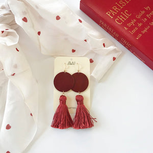 Red Tassel Leather Earrings