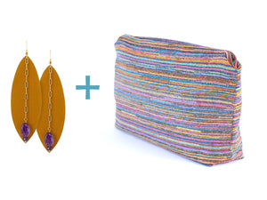 Lido Clutch + Amethyst Leather Earrings