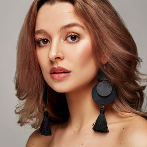 Laguna Leather Earrings in Midnight ©