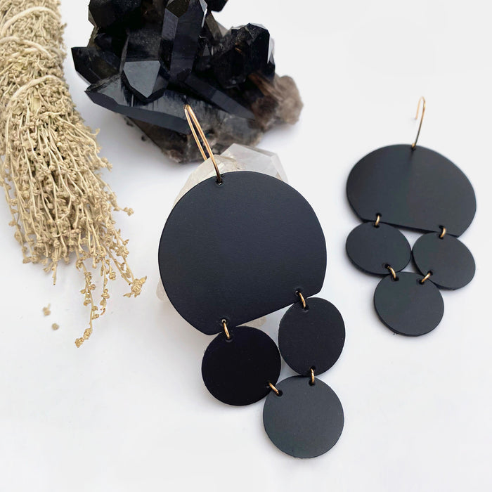 Paloma Leather Earrings in Midnight