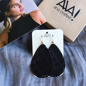 Black Teardrop Honeycomb Leather Earrings