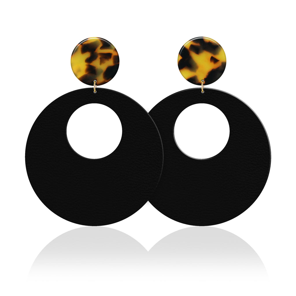 Tortoise Due Revolve Leather Earrings