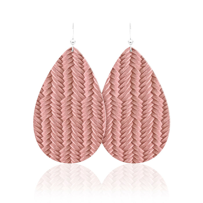 Blush Braid Leather Earrings