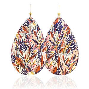 Floral Print Leather Earrings