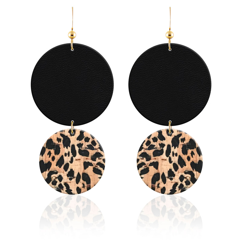 Midnight Cheetah Leather Earrings