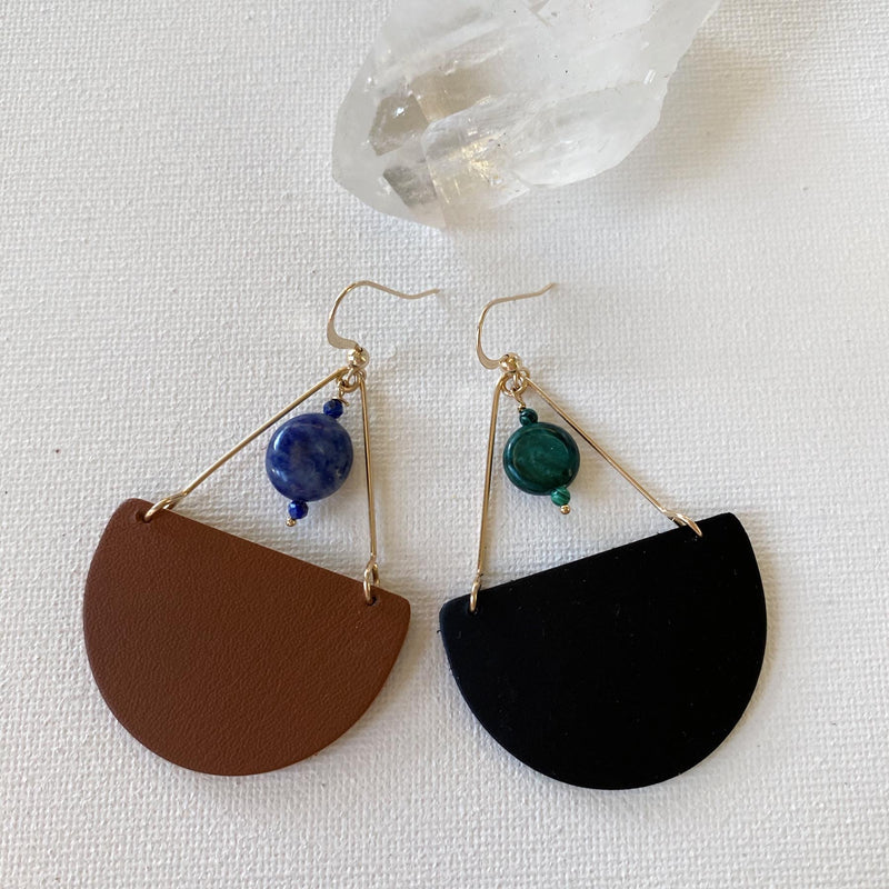 Cleo Gemstone Leather Earrings