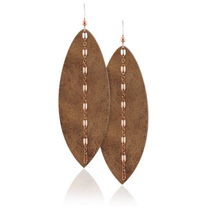 Rose Gold Chain Leather Earrings