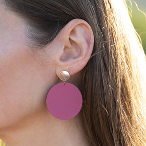Pink Leather Post Earring