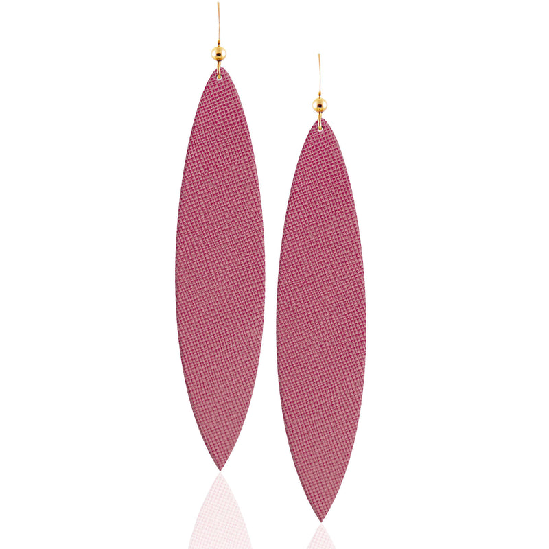 Dusty Rose Leather Earrings