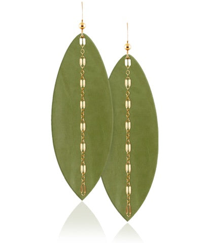 Fern Linked Leather Earrings