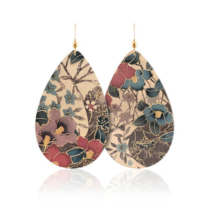 Flora Teardrop Leather Earrings