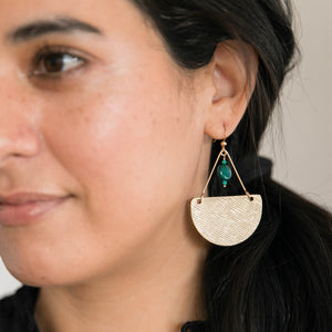 Gold and Malachite Gemstone Leather Earrings