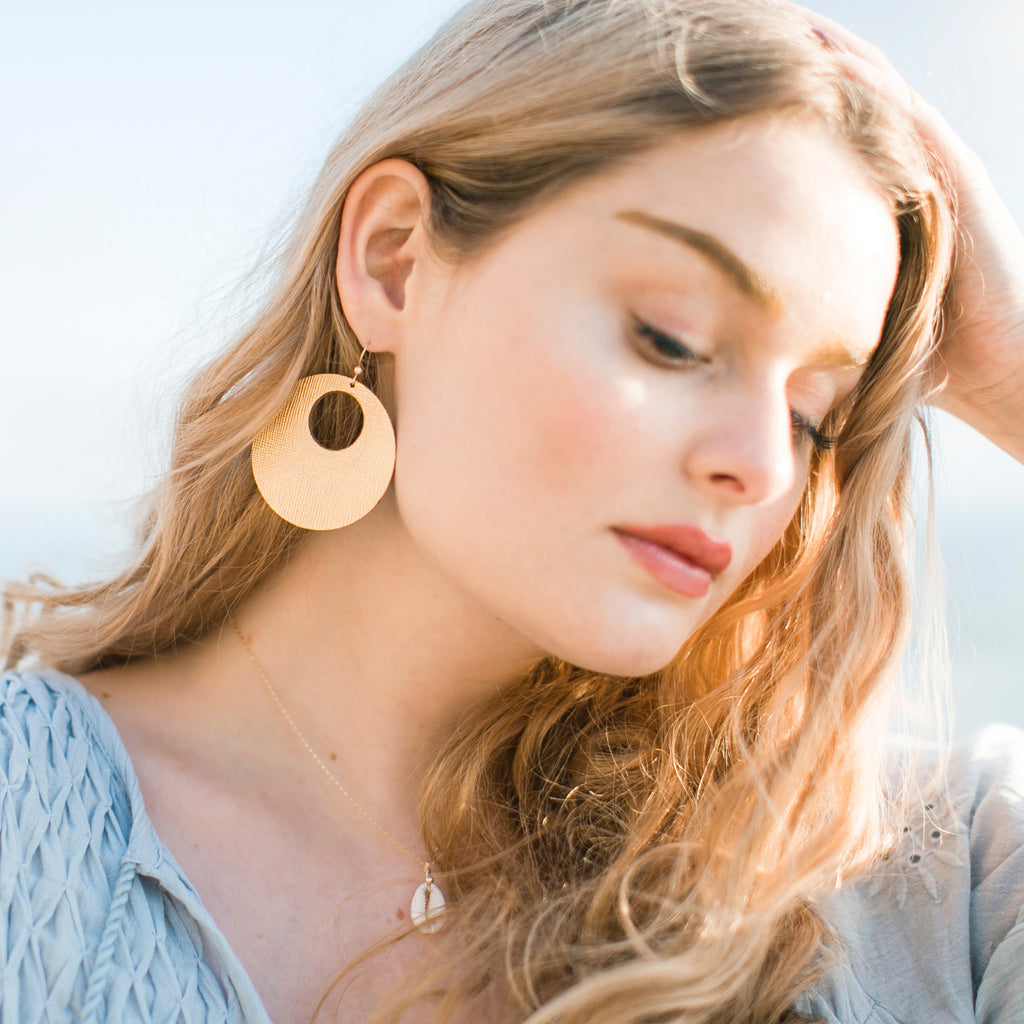 Gold Circle Statement Earrings