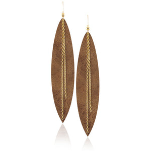 Gold Chain Leather Earrings