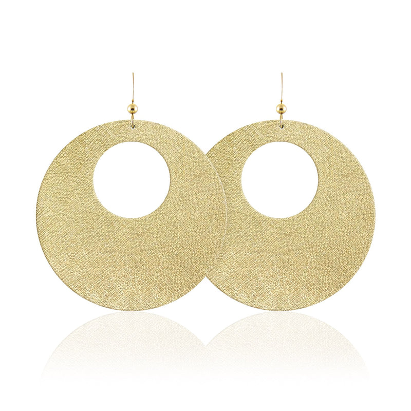 Gold Nickel Free Leather Earrings