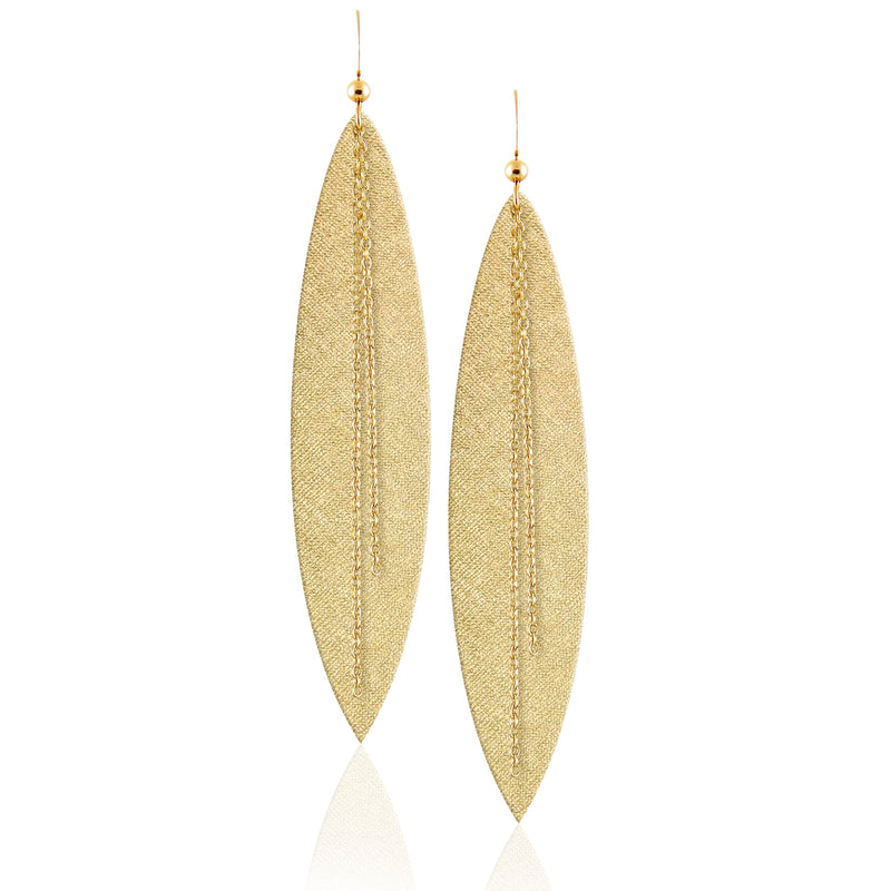 Gold Luster Linked Leather Earrings