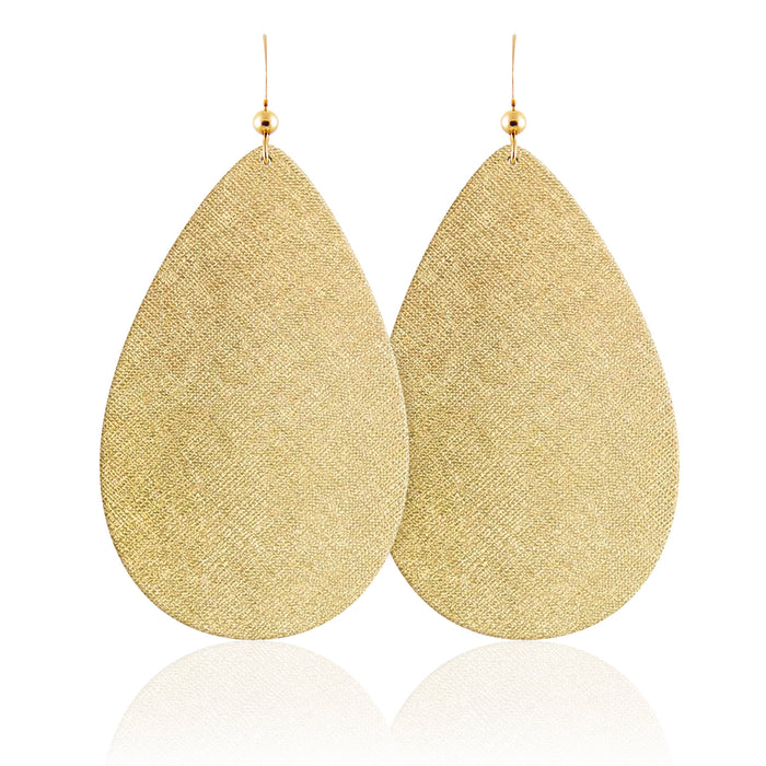 Gold Luster Teardrop Leather Earrings
