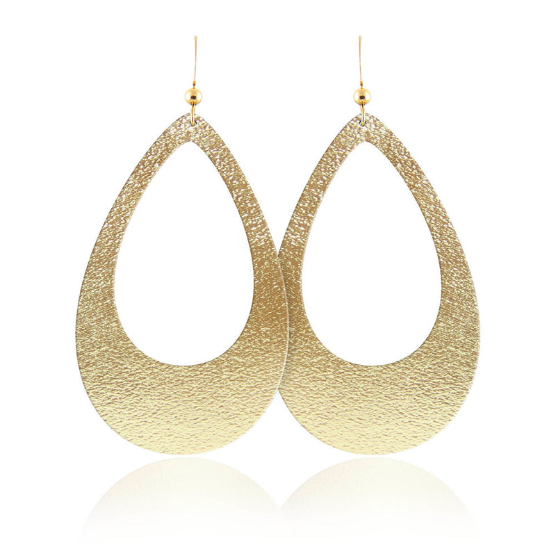 Golden Goddess Teardrop Cutout Leather Earrings