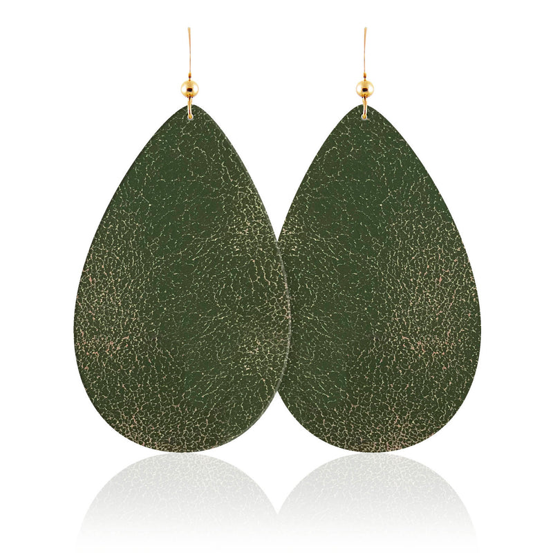 Forest Teardrop Leather Earrings