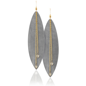 Touch of Grey Gemstone Leather Earrings