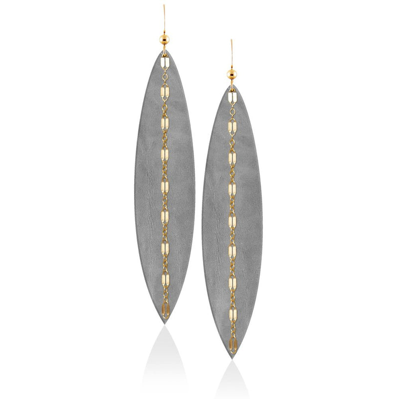 Touch of Grey Linked Leather Earrings