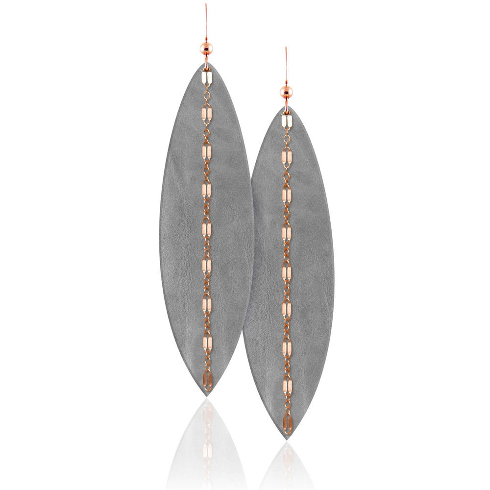 Touch of Grey Linked Leather Earrings ©