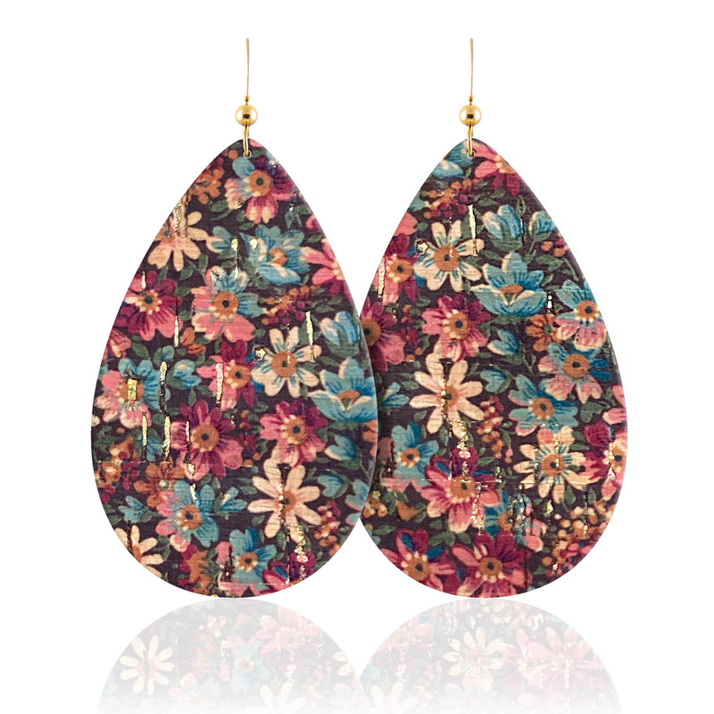 Holiday Floral Leather Earrings