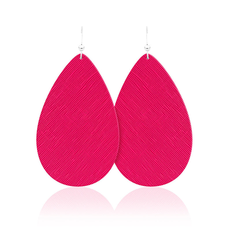Hot Pink Teardrop Leather Earrings