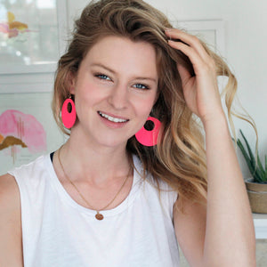 Hot Pink Revolve Leather Earrings