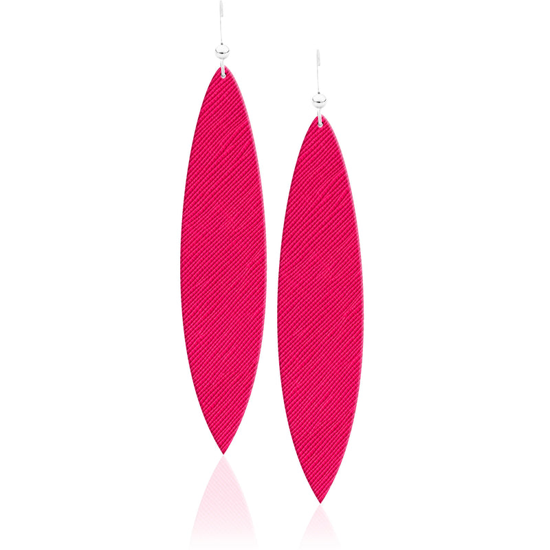 Hot Pink Leather Earrings