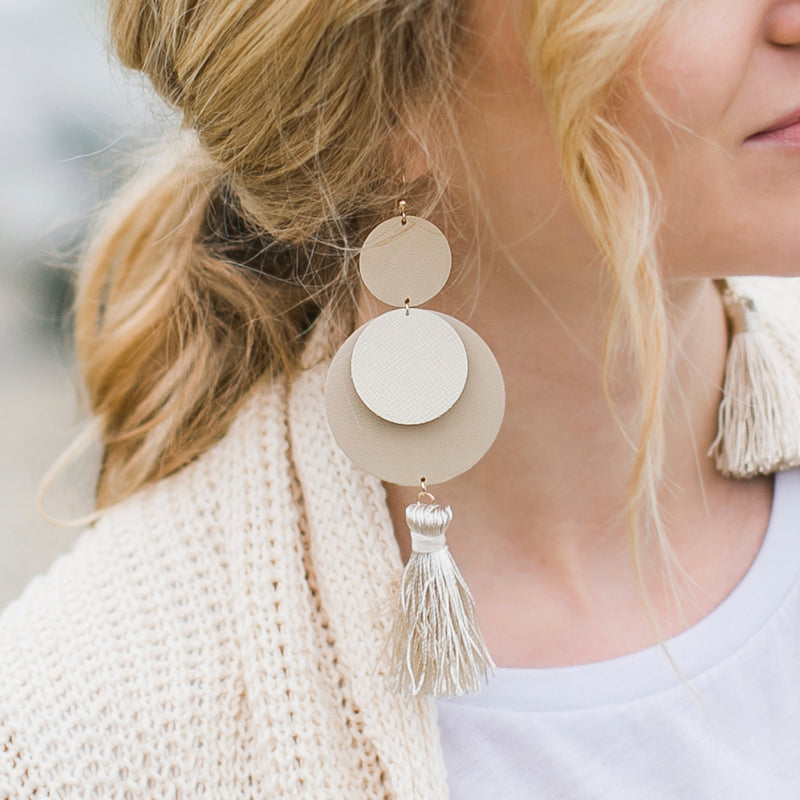 Laguna Leather Earrings in Ivory