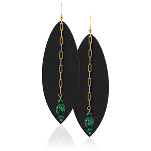 Leather earrings with malachite gemstone beads