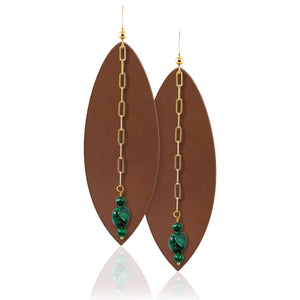 Leather earrings with green malachite power gemstone