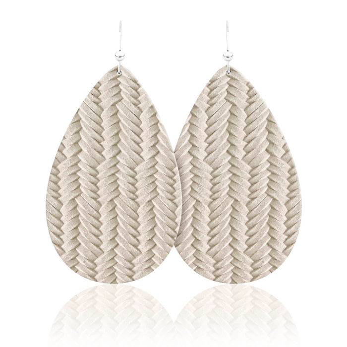 Winter Braid Teardrop Leather Earrings