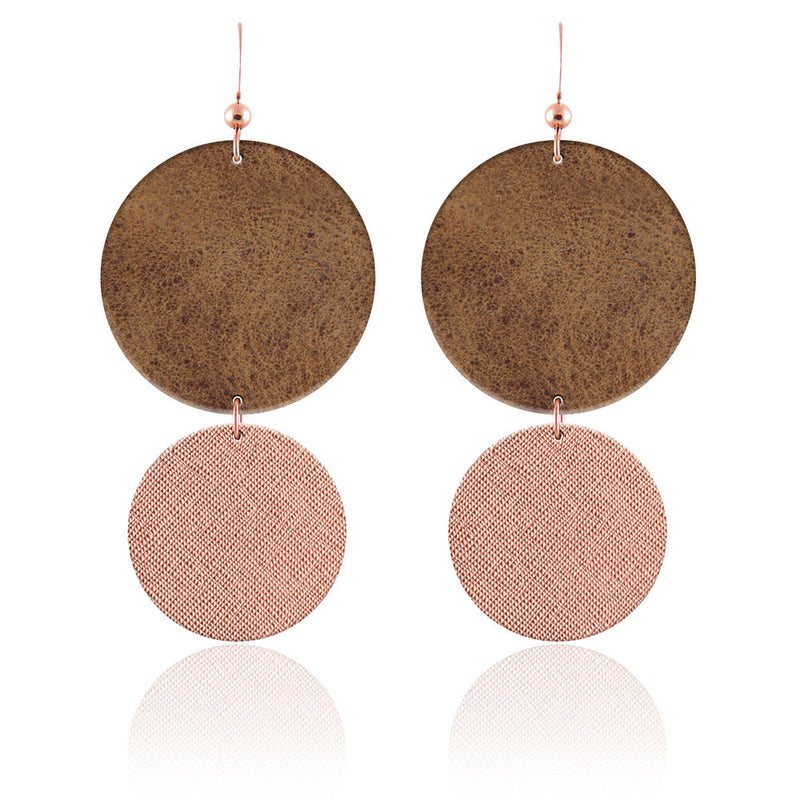 Rose Gold and Brown Circular Leather Earrings
