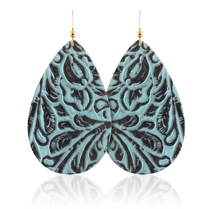Mila Teardrop Leather Earrings