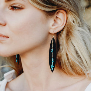 Turquoise Bohemian Leather Earrings